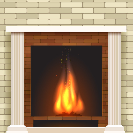 pilasters: Classic fireplace icon. Vector fireplace for living room interior Illustration