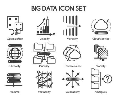 Caractéristiques Big données icônes. Big Variété de données et Velocity, Big Volume de données et de la variabilité. Vector illustration