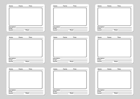 plantilla de guión gráfico para los iconos de la historia del cine. ilustración vectorial