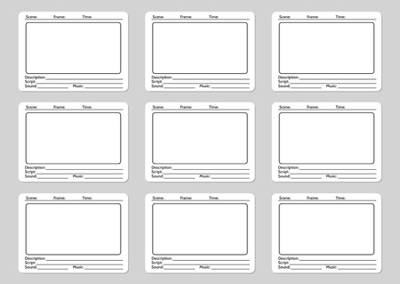 storyboard: Storyboard template for film story icons. Vector illustration