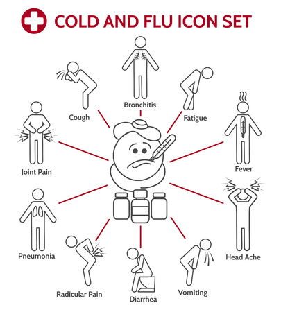 aching: Cold and flu icons. Nasal infection symptoms or Influenza icons. Vector illustration