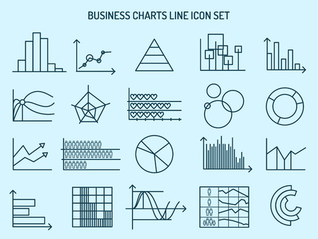 profile measurement: Business charts line icons. Charts signs, graphs symbols and diagrams line icons. Vector illustration Illustration