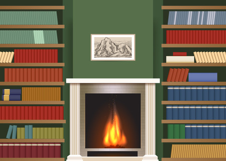 classic interior: Classic interior with book shelves. Living room with bookshelves and fireplace vector illustration Illustration