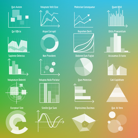 graphs and charts: Vector graphs and charts. Transparent business graphs and charts. Vector illustration