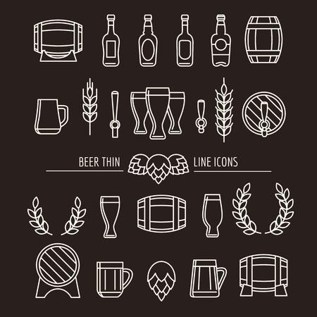 ビールの細い線のアイコン。醸造所概要と看板ビール ジョッキ、ビール瓶、ビール樽とホップを醸造します。ベクトル図