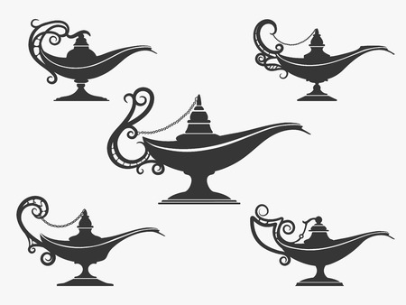 Aladdin lamp icon or genie lamp set. Vector illustration