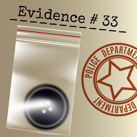 Police case evidence stamp and button in a bag. Vector illustration