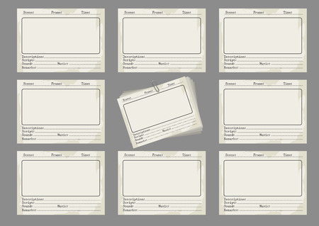 storyboard: Storyboard template in retro style. Storiboards icons on grey background. Vector illustration Illustration