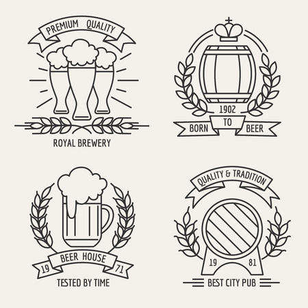 Beer line logo. Beer house and kraft brewing company outline labels. Vector illustration