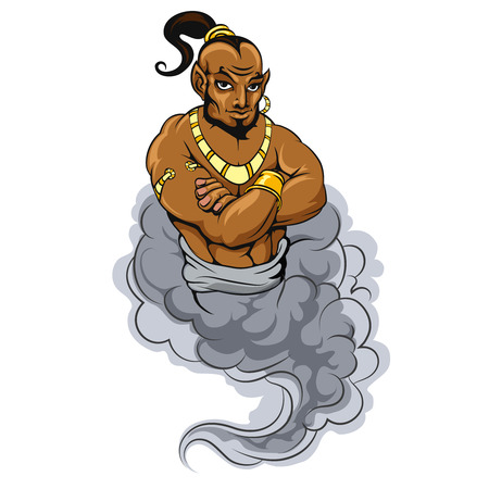 aladin: Genie coming out of a magic lamp. Genie vector illustration