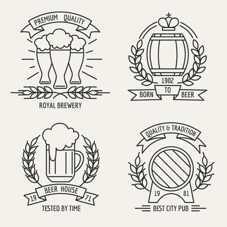 beer house: Beer line logo. Beer house and kraft brewing company outline labels. Vector illustration