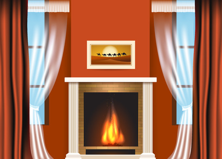 fireplace living room: Classic living room interior with fireplace and curtains. Illustration