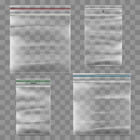 Plastic zipper bag template. Transparent ziplock bags icons. Vettoriali