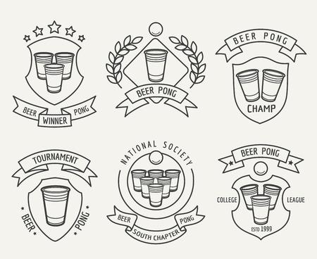 pong: Beer pong line set. Beer pong drinking game linear labels