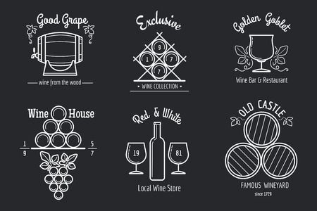 winery: Wine line set. Wine making or winery thin line signs for wine bar or wine restaurant menu. Illustration