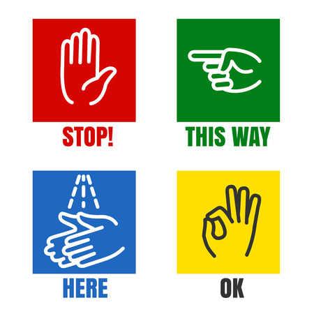 wash your hands: Hands signs. Stop hand and wash your hands, pointing hand and OK. illustration