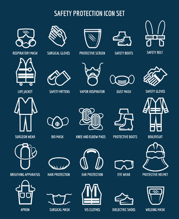 Work health and occupational safety protection icons. illustration Vectores