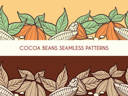 カカオ豆はチョコレート バナーの横のシームレス パターン