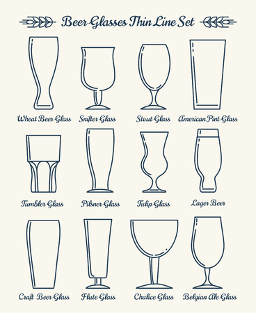 beer tulip: Beer glassware line icons. Beer glasses and goblets thin line signs. illustration