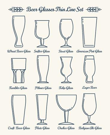 vasos de cerveza: Cerveza iconos de líneas cristalería. Vasos de cerveza y copas de los signos de la forma. ilustración