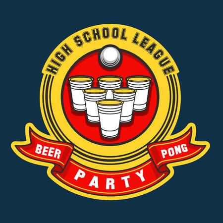 Bier pong partij. bier pong spel label