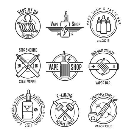 Vape etichette di negozi e bar di vapore, negozio emblemi e-sigaretta o badge vaping set
