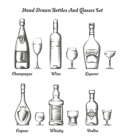 types of glasses: Different types of alcohol hand drawn bottles and glasses illustration