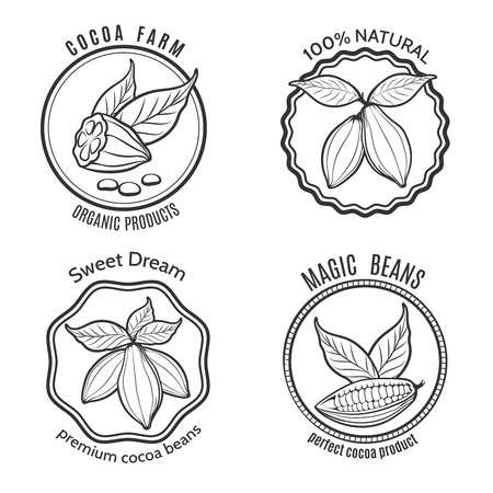cacao: Hand drawn cacao set and cacao chocolate labels
