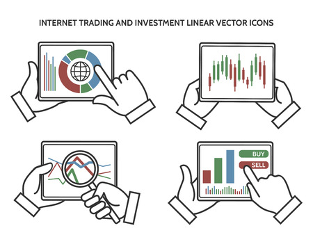 stock trading: Stock exchange business hands. Internet trading and investment linear icons