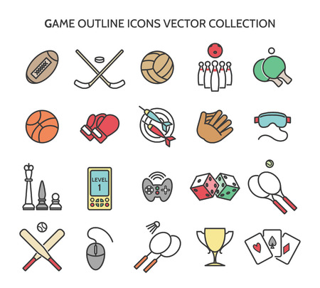 Game outline icons. Colored icons of sports equipment and computer games