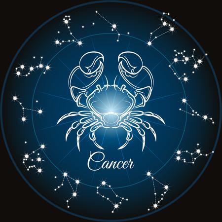 constelaciones: Zodiaco C�ncer de la muestra y del c�rculo constelaciones. ilustraci�n vectorial