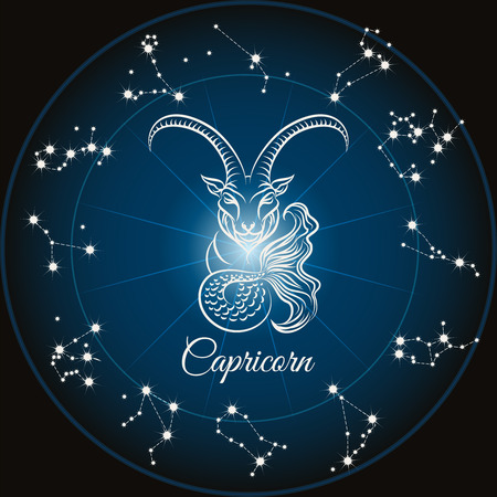 classical mythology character: Zodiac sign capricorn and circle constellations. Vector illustration