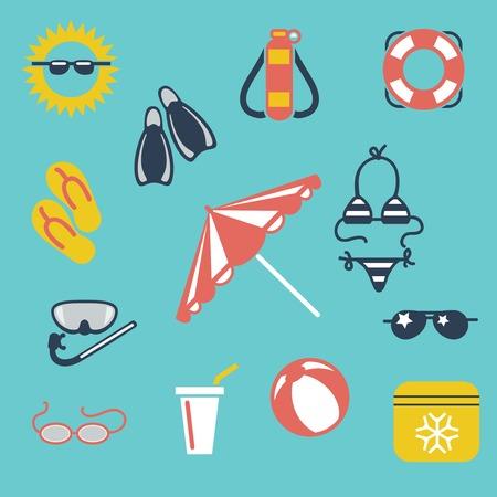 sun umbrella: Colorful summer flat icons ball sunglasses swimwear sun umbrella vector Illustration