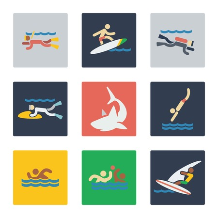 surf team: Sea sports flat icons with people and dangerous sea predator shark. Vector illustration