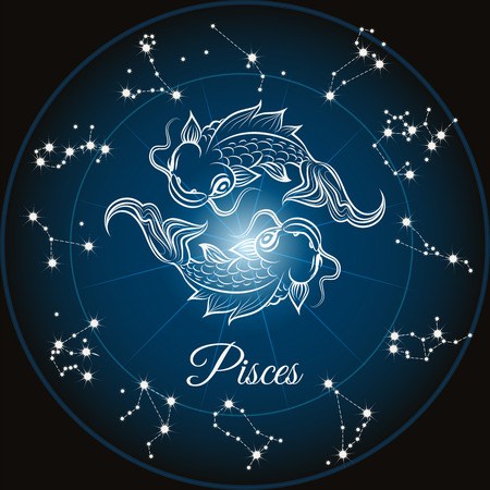 foretell: Zodiac sign pisces and circle constellations, Vector illustrattion