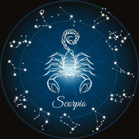 soothsayer: Zodiac sign scorpio and circle constellations. Vector illustration.