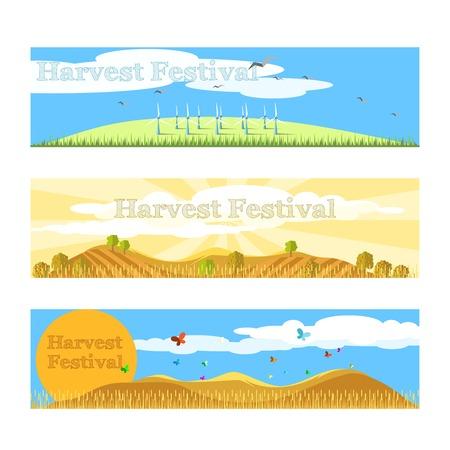 harvest festival: Horizontal flat harvest festival banners set. Vector illustration