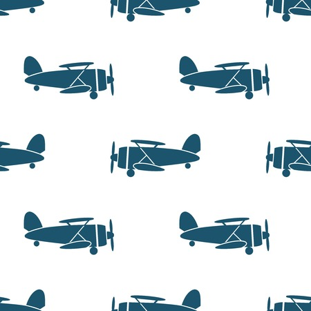 airforce: Seamless pattern with blue biplanes on white background. Vector illustration