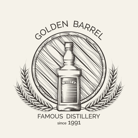 whisky: Whisky distillery emblem. Vector whisky production template