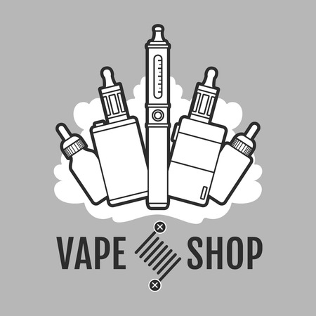 electronic: Vape label. Electronic cigarette for vape or e-cigarette design element Illustration