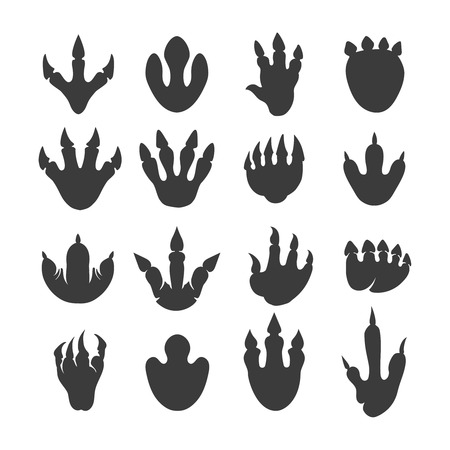 Vector reptile footprints. Dinosaur tracks vector black icons