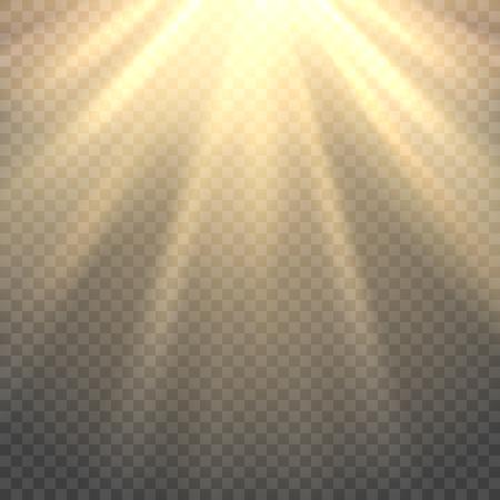 Vector soleil. Sun poutres ou les rayons du soleil sur fond transparent Vecteurs