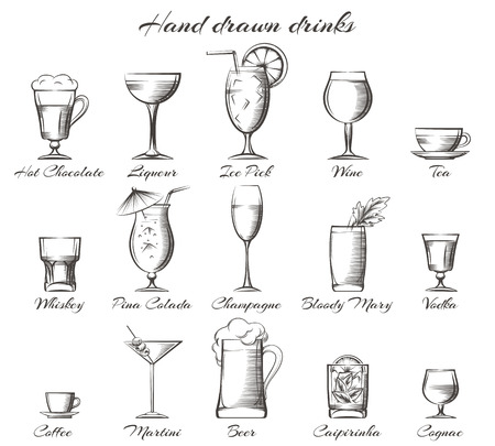 nonalcoholic: Hand drawn drinks. Vector sketch of alcoholic and non-alcoholic beverages Illustration