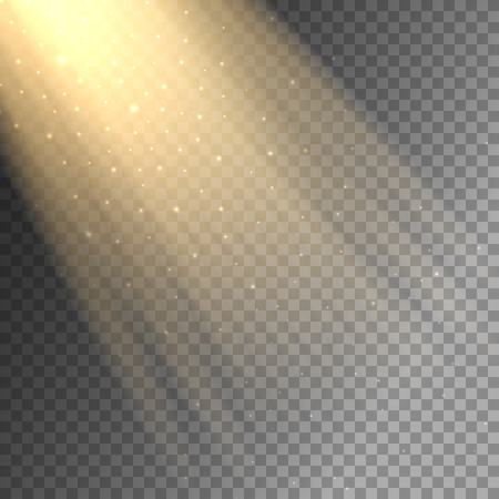 ray of light: Vector ray of light on transparent checkered background