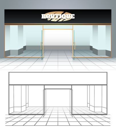 stage door: Shop or boutique front view. Vector illustration