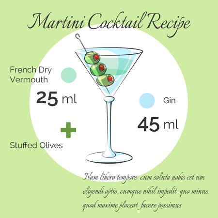 receipt: Martini receipt. Martini bartender cocktail receipt poster