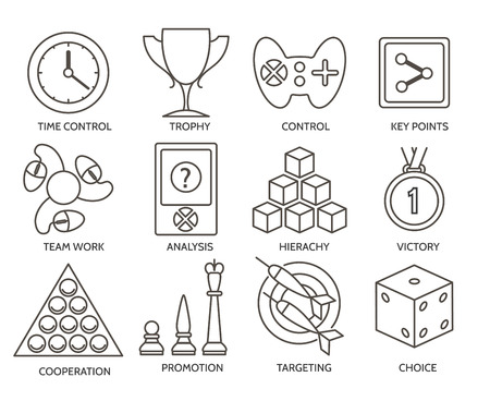 gratification: Business gratification icons. Business fun competition game signs.