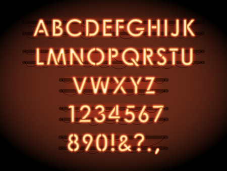 Neon vector letters and numbers. Neon tube lights text