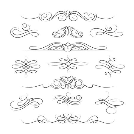 Elementi Vintage calligrafici ornato pagina di decorazione e divisori per gli inviti, biglietti di auguri e striscioni. illustrazione di vettore Archivio Fotografico - 59992955