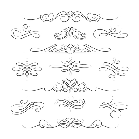 Vintage kalligrafische sierlijke pagina decoratie-elementen en verdelers voor uitnodigingen, wenskaarten en banners. vector illustratie Stock Illustratie